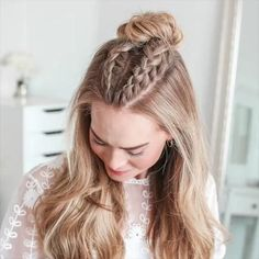 hair style long hair #Hair #Long #style Medium Thin Hair, Medium Hair Styles, Curly Hair Styles, Braids For Medium Hair, Hair Braiding Styles, Teen Hairstyles, Summer Hairstyles, Hairdos For Short Hair, Simple Braided Hairstyles