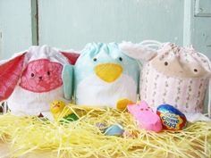 spring animals drawstring bags...how cute!