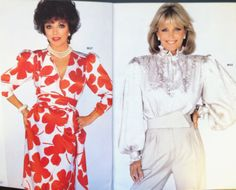 It wouldn't be the '80s without Joan Collins and Linda Evans in silk and big shoulder pads. Here they are in a page from a May 1984 McCall's catalog. #mccalls #vintagepatterns #dynastytvshow