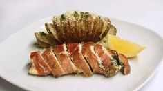 Spinach and Ricotta-Stuffed Chicken with Rosemary Hasselback Potatoes - RachaelRay.com