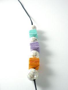 Manufacta Paper Jewelry: Collana in carta di riso e ceramica raku