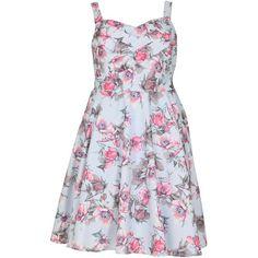 Samya Plus Size Summer Dress ($53) ❤ liked on Polyvore featuring dresses, light blue, women, midi dress, plus size midi dresses, floral fit and flare dress, floral dresses and floral skater skirt