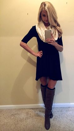 black dress, big scarf, leg warmers, and knee high boots