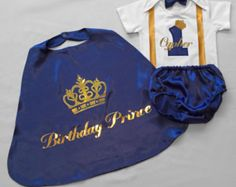 Royal Blue Little prince Personalised Baby boy by BuBBlingBoutique
