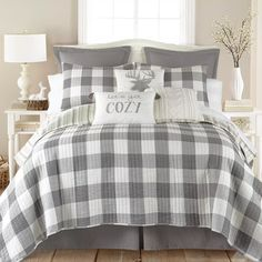 Transform your bed into a calming oasis with the serene Camden Reversible Quilt Set from Levtex Home. The quilt is rendered in a trendy plaid motif, and reverses to an equally stylish look for contrast. Guest Bedrooms, Plaid Bedding, Home, Plaid Bedroom, Farmhouse Bedroom Decor, Bed, Bedroom Decor, Bedding Sets, Bedroom