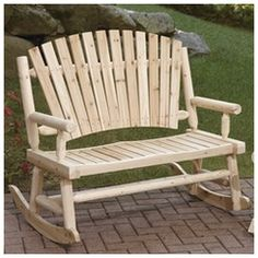 Adirondack Cedar Log Double Rocking Chair | Stoneberry | Live Better Now