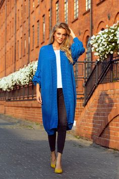 Blue Cardigan, Long Cardigan, Cardigan Outfits, Casual Chic Outfits, Smart Casual, Wool Blend, Duster Coat, Braids, Winter Fashion