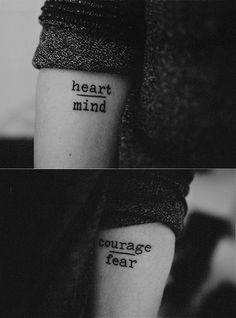 Heart over mind and courage over fear tattoo, love the placement