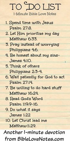 1-Minute Bible Love Notes: To Do List Bible verses