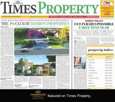 The real estate section of The Times of India, Times Property, featured Hebron Properties and our premium 1% project Hebron Enclave. Highlighting our need for quality and luxury, we are very excited to be featured. If you missed the article in today's paper, read it here!