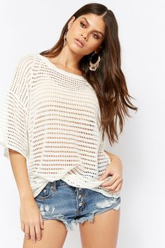 Product Name:Sheer Open-Knit Top, Category:sweater, Price:38