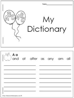 1st Grade Dictionary (26 Letter Booklet)  This is cool!  Kids can collect their own words to use in writing!!