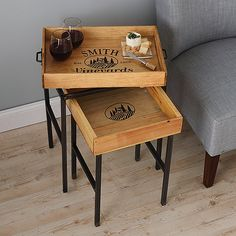 Personalized Wine Crate Tray Nesting Tables at Wine Enthusiast - $349.00