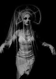 """Selfportrait, Irina Ionesco (b. 1935)    """"…her pictures of women, with their pallid complexions and statuesque poses, often suggest death. 'Yes. I didn't set out to do this — it happened. It is more than death, it is mainly the waiting. It is an image of loneliness. Loneliness and death are almost the same thing.""""   quoted from 'How to Photograph Women' by Dixons"""