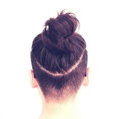 And so I finally got my undercut and top knot bun! #undercut #topknot #hairinabun