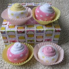 4 pack of Baby Cupcakes For Girls Pink and Yellow by babyblossomco, $15.00