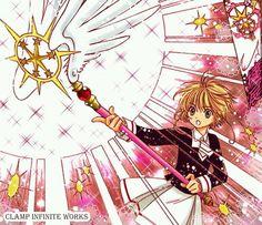 Sakura new staff clear card Cardcaptor Sakura, Sakura Card Captor, Syaoran, Dreamworks, Manga Anime, Haruhi Suzumiya, Cartoon Art Styles, Clear Card, Japanese Cartoon