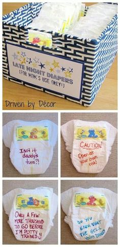 Have guests at baby shower write notes for mom on diapers, very cute idea