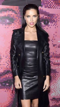 Leather dress and leather coat