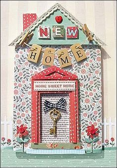 Greeting Card New Home - Vintage Style - Home Sweet Home Welcome Home Cards, New Home Cards, New Home Gifts, Cool Cards, Diy Cards, New Job Card, Album Scrapbook, Craftwork Cards, Shaped Cards