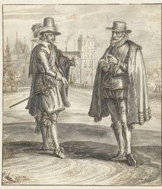 Twee mannen in gesprek op het Buitenhof, Adriaen Pietersz. van de Venne, 1600 - 1662