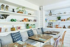 Hally's Parsons Green, white shiplap and open shelves, blue and white ikat and striped ticking Bar Restaurant, Restaurant Design, Rustic Restaurant, Blueberry Home, Parsons Green, Rue Verte, Rustic Wallpaper, White Shiplap, Rustic Apartment