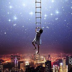 Stairway to the stars >> Get inspired! >> www.shopdixi.com #shopdixi #stars #moon #magical #skyline #inspiration #supernova #solar #universe