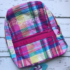 """Peekawhoo.com on Instagram  """"Personalized Popsicle Plaid backpack LOVE! 💗  This print and other seersucker prints available now. c55360eed324c"""