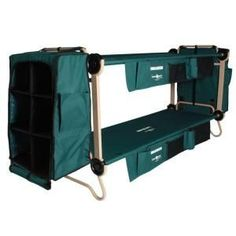 Disc-O-Bed Cam O Bunk 32 in. Green Bunkable Beds with Leg Extensions Bed Side Organizers and Hanging Cabinets (2-Pack)-30001BOEC at The Home Depot
