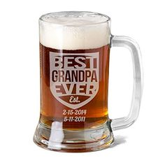 16 Oz Grandpa Mug Personalized Glass Beer Mug Stein Gift for Grandfather Fathers Day Engraved with Est Kids Birth Dates Etched Papa Grandpa ** Check this awesome product by going to the link at the image.
