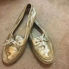 Women's Authentic metallic gold slip-on boat shoes EUC metallic gold Sperry top sider Sperry Top-Sider Shoes