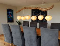 Cosy tree trunk ceiling light with four lights, finished in real wood veneer lampshades