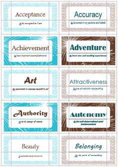 100 Value Cards (G-I) inspired from Motivational Interviewing. Print out on Avery business cards and use with clients to help them define and prioritize their values. Counseling Activities, School Counseling, Therapy Activities, Therapy Tools, Art Therapy, Music Therapy, Play Therapy, Social Work Practice, Creative Arts Therapy