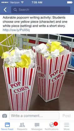 Fun for a writing center activity- Popcorn writing activity: students choose one yellow piece (character) and one white piece (setting) and write a short story or adapt to oral language activities Writing Lessons, Teaching Writing, Teaching Tools, Teaching English, Writing Prompts, Teaching Ideas, Writing Ideas, Writing Assignments, Start Writing