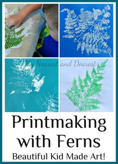 Printmaking with ferns art for kids
