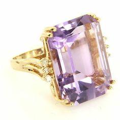 Vintage 14 Karat Yellow Gold Amethyst Diamond Cocktail Ring Fine Estate Jewelry  $595