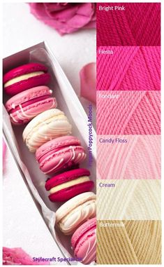 Yarn Lovers for Crochet and Knitting Yarn Color Combinations, Color Schemes Colour Palettes, Yarn Inspiration, Color Harmony, Color Palate, Colour Board, Macaron, Color Swatches, Yarn Colors
