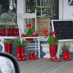DIY Boot Planters