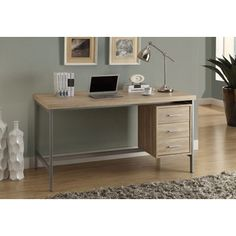 @Overstock.com - Silver Metal and Natural Reclaimed-look 60-inch Long Office Desk - Add a charming touch to your living space with this stylish and functional office desk. Featuring a silver metal and rubber wood construction, this three-drawer desk is finished in a natural neutral color for a chic reclaimed look.  http://www.overstock.com/Home-Garden/Silver-Metal-and-Natural-Reclaimed-look-60-inch-Long-Office-Desk/8331763/product.html?CID=214117 $357.99