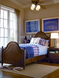 Classics 4.0 Collection- Low Post Panel Bed and Nightstand in a Saddle Brown finish