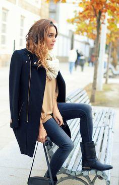 Zara Coat, Alpe Boots, Pimkie Scarf