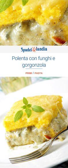 Polenta con funghi e gorgonzola Polenta, Best Comfort Food, Fett, Cheeseburger Chowder, Noodles, Soup, Dishes, Vegetables, Vegetarian