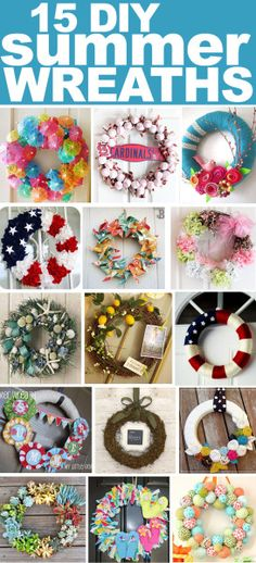 15 Fabulous DIY Summer Wreaths Only a couple of more weeks of school and it's officially summer! Wreath Crafts, Diy Wreath, Door Wreaths, Wreath Ideas, Yarn Wreaths, Tulle Wreath, Burlap Wreaths, Ribbon Wreaths, Wreath Making