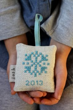 Personalized Ornament Cross Stitch Snowflake by LooseThreadDesign