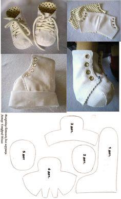 Schuhe für Walldorf Puppe nähen / Bambole waldorf di stoffa - waldorf dolls : come fare le scarpine per la bambola