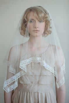 Bridal single layer silk veil - Silk tulle with lace trim veil in ivory - Style 053 - Made to Order. $225.00, via Etsy.