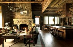 In Big Sky, Montana, Atlanta-based designer William Peace of Peace Design creates a charming rustic family getaway that's ideal for festive gatherings or quiet, contemplative moments amid the dramatic surroundings.