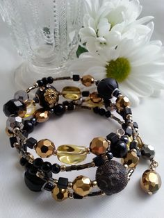 Vintage Inspired Black and Antique Gold Toned by RoseTeaAndRabbit, £33.00