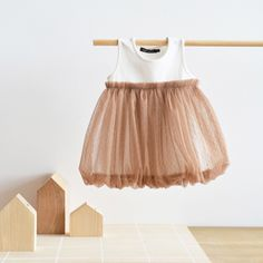 Bubble Tulle Dress in Golden Brown | Le Petit Society