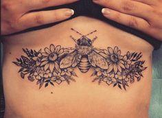 Sternum tattoo. Tattoo ideas. Tattoos for women. Flower tattoo. Bee tattoo. First tattoo.